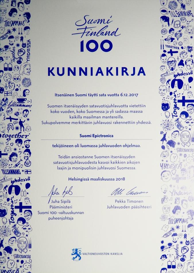 Suomi Epictronica - Suomi 100 Kunniakirja